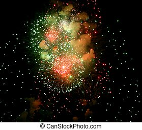 Green and Red Fireworks - Fireworks from the Canada Grand...