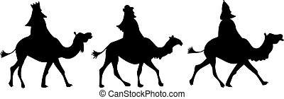 wisemen - the three wisemen riding on camels isolated on...