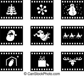Christmas film - set of six film negative style buttons...