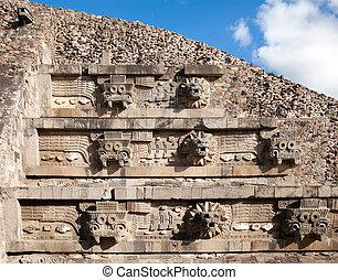 emplumado, serpiente, pirámide, Teotihuacan