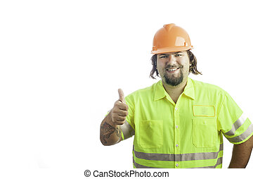 Construction Worker Thumbs Up - City construction worker...