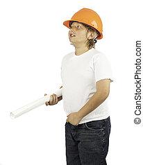 男孩, 努力, 帽子