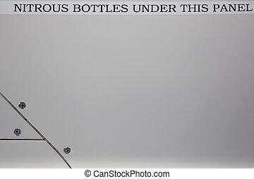 nitreux, bouteilles, sous, ceci, panneau