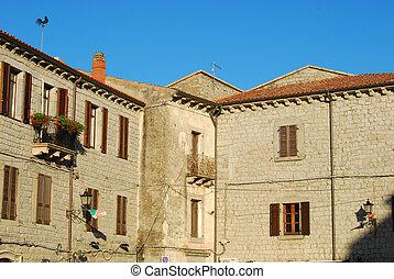 a, casas, Tempio, Pausania, -, Sardinia, -, Itália,...