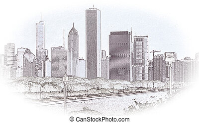 Chicago Skyline Sketch - Pencil sketch of Chicago skyline