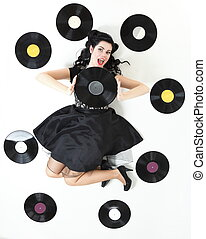 Pin-up girl style retro woman analogue record - style Sexy...