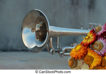 Silver Trumpet with paper flowers