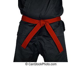 Karate Red Belt Tied Around Torso Black Uniform - Karate red...