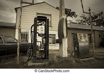 Vintage gas station II - Old retro gas pumps in the rural...