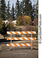 No Entry - Orange and White Roadblock Blocking Vehicles...