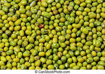 Green mung beans closeup background