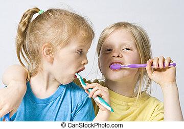 Escovar, crianças, dentes
