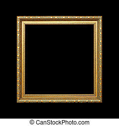 Gold Frame Isolated on black background with clipping path