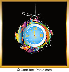 New Years clock.Holiday concept