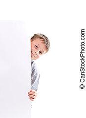 happy teenage boy holding a blank form - happy teen boy...