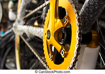 Mountain bikes gear and chain on crank set
