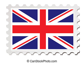 british card - British flag inspired by a stamp with drop...