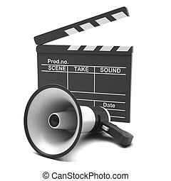 Movie clapper and megaphone on a white background