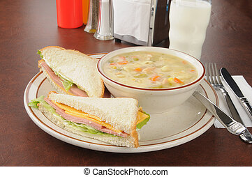 Bologna sandwich with chicken soup - A bologna and cheese...