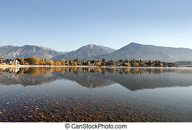 Invermere Lake under Rocky Mountains, British Columbia, Canada