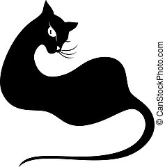 Black cat. Silhouette on white. EPS 10, AI, JPEG