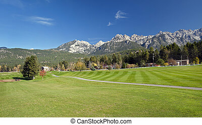 Golf Course under Rocky Mountains, British Columbia, Canada