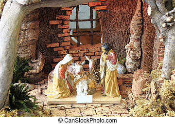 Nativity scene - Christmas nativity scene with hand colored...