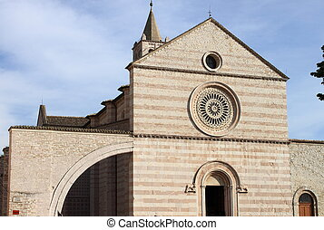 Facade of St. Claire Cathedral in Assisi