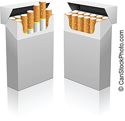 Opened blank realistic cigarettes pack vector template.
