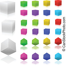 Vector set of 3D color cubes isolated on white background.
