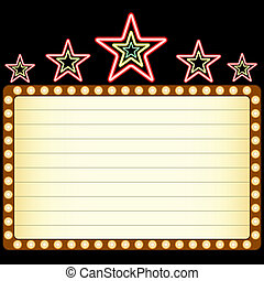 Blank movie, theater or casino marquee with neon stars above...