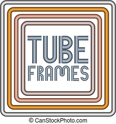 Steel, golden, copper and bronze metal tube frames isolated...