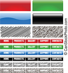 Vector set of web site menu bars isolated on white background.