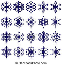 Vector collection of snowflake shapes