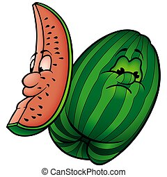 Melon - colored cartoon illustration