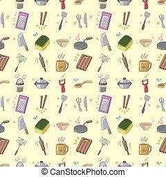 seamless Kitchen pattern,cartoon vector illustration
