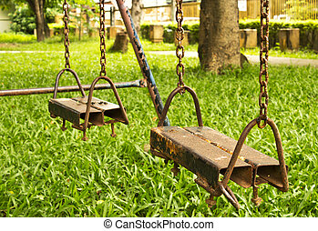 Empty Swing Set on the garden