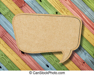 Blank Speech Bubble on colorful painting wood background