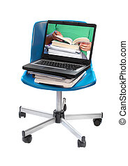 online learning - textbooks, notebooks and computer laptop...