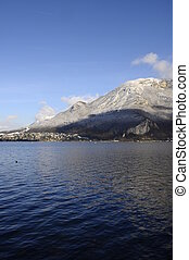 Blue Annecy lake on winter - Large view of Annecy lake and...