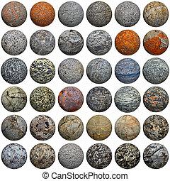 Set of 3D stone balls on white - seamless texture