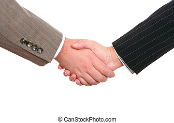 Business handshake isolated on white background