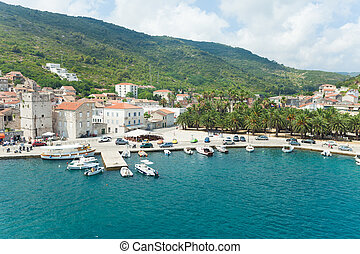 Komiza, a city on the island Vis in Croatia in the Adriatic...