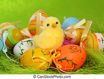Easter decoration with chicken and eggs