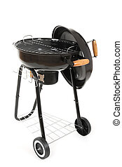 Black barbecue grill with cover on white