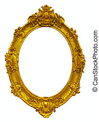 oval gold picture frame Isolated over white background with...