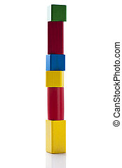 building block tower - Wooden tower made of colorful...