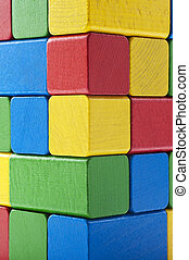 colorful building block - Pile of colorful building block,...