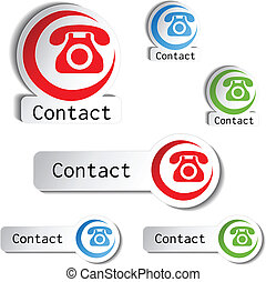 contact buttons - phone icons - Vector contact buttons -...