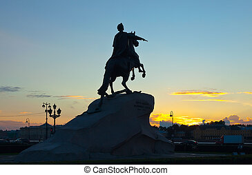 statue of Peter the Great in sunrise - Equestrian statue of...
